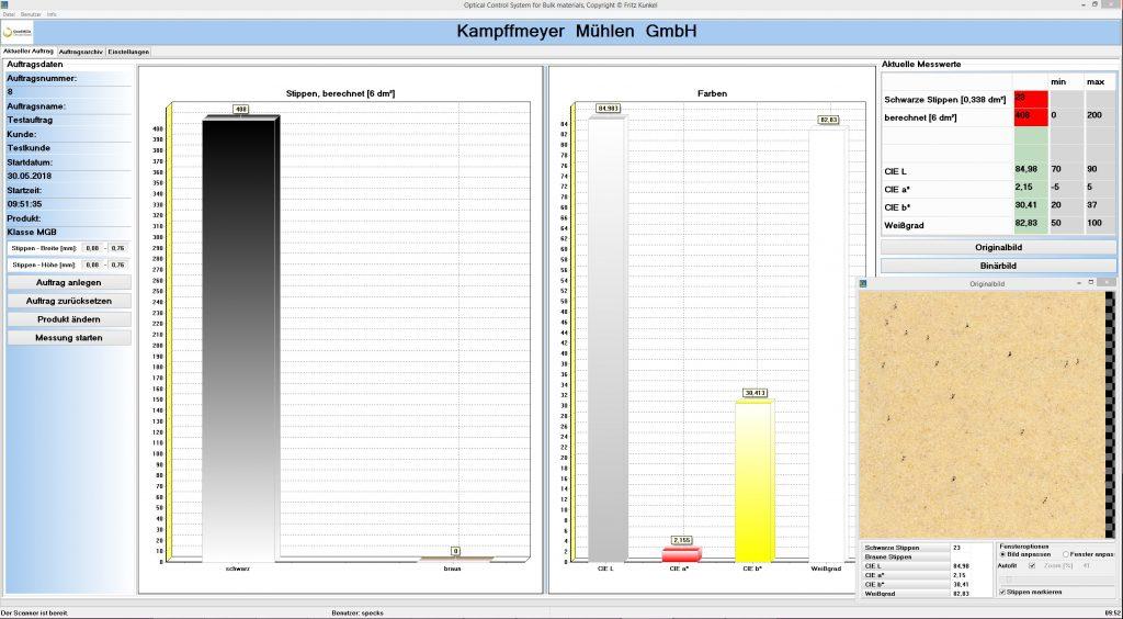 OKS Scanner Hauptanzeige mit Balkendiagramm und Vorschaubild