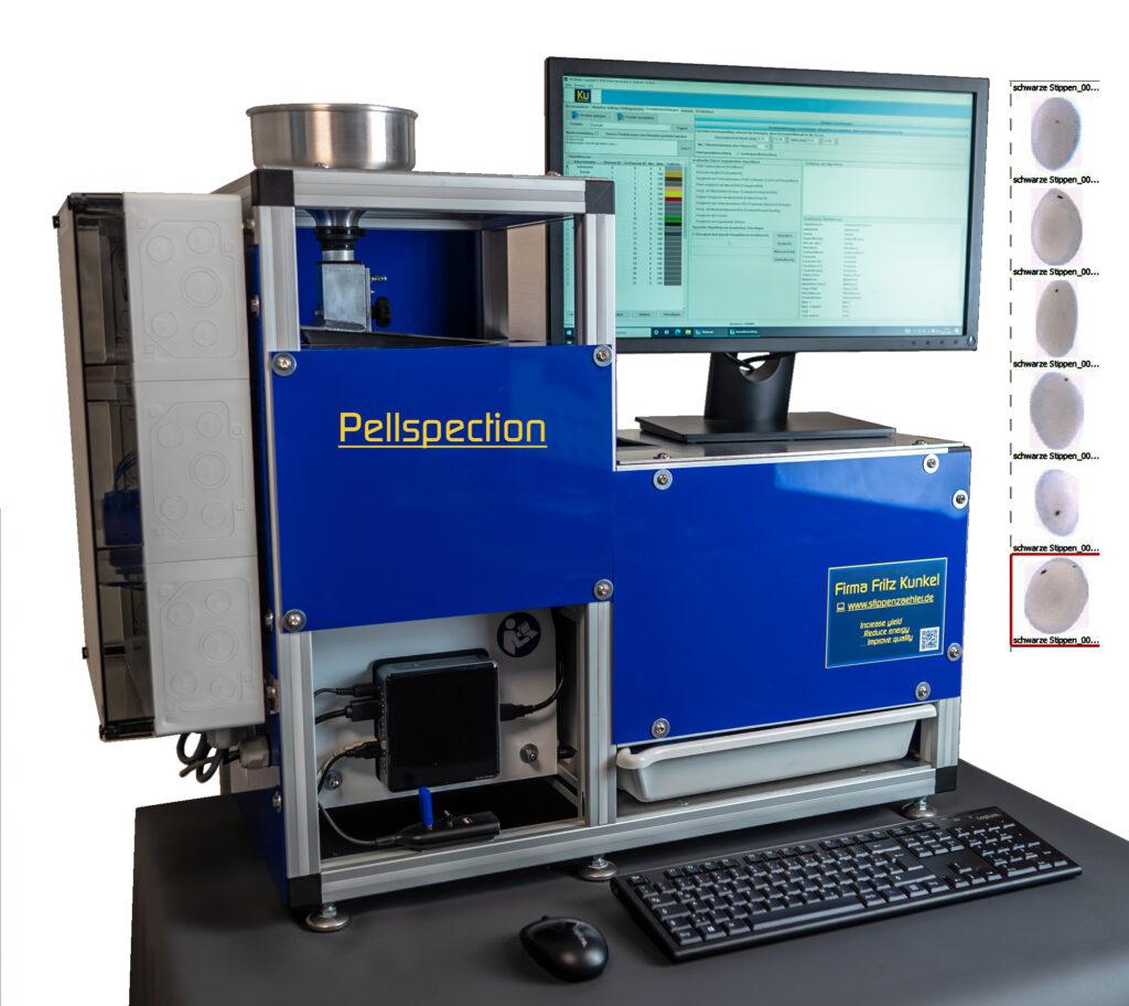 Die Pellspection-Maschine, Alu-Gerüst mit Mini-PC, Trichter, Monitor, Maus und Tastatur, blaue Abdeckung